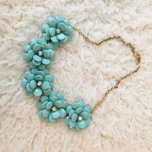 J Crew turquoise flower statement necklace